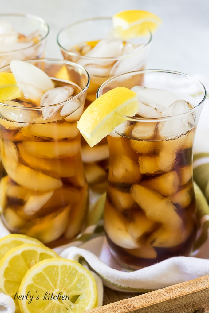 Glasses of instant pot iced tea with lemon slices.
