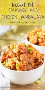 Instant Pot Sausage and Chicken Jambalaya used for Pinterest.