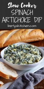 Slow Cooker Spinach Artichoke Dip pin used for Pinterset.