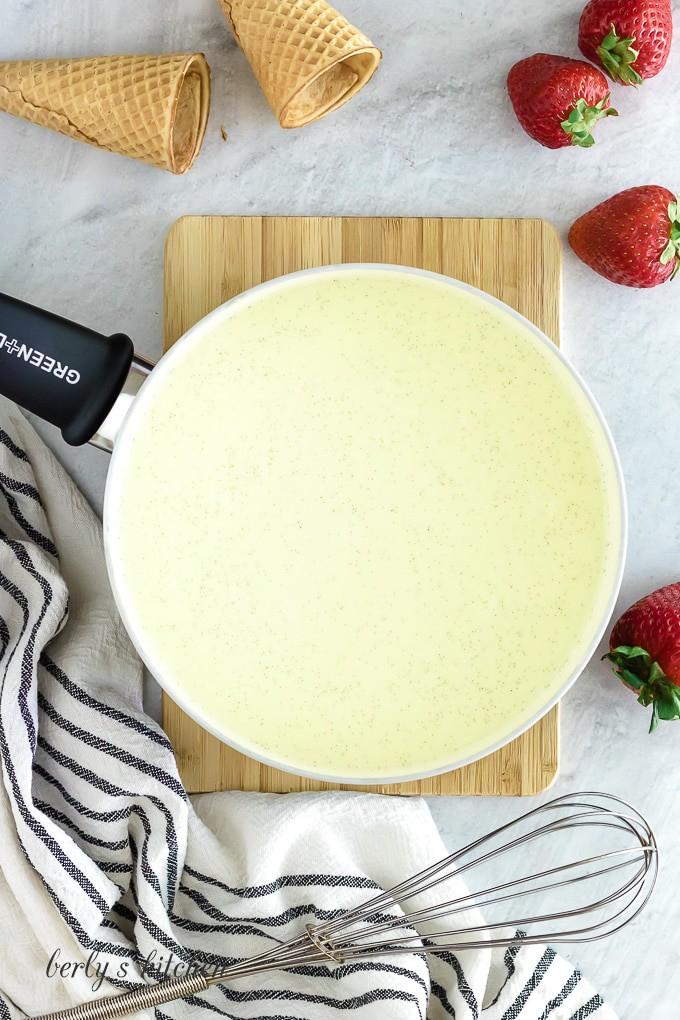 Heavy cream, milk, sugar, eggs, and vanilla in a medium saucepan.