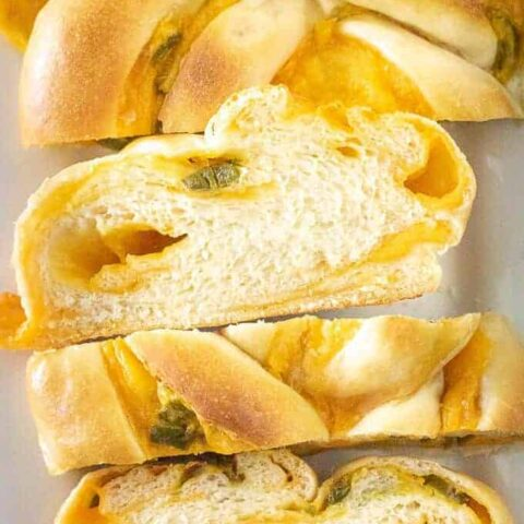 Ariel view of sliced jalapeno cheese braided bread.