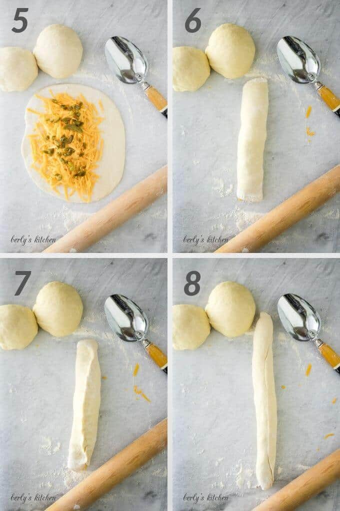 Second collage of photos for jalapeno cheese braided bread.