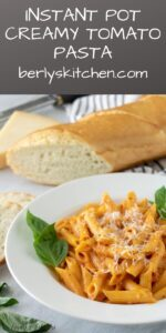 The creamy tomato pasta served with fresh basil and shredded Parmesan.