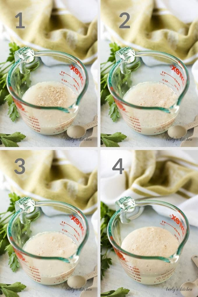 Collage of yeast activating in a glass measuring cup.