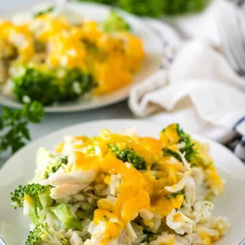 A close-up view of the cheddar topped chicken broccoli rice.