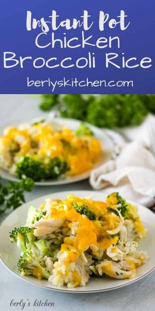 The chicken broccoli rice topped with cheddar and served on a plate.
