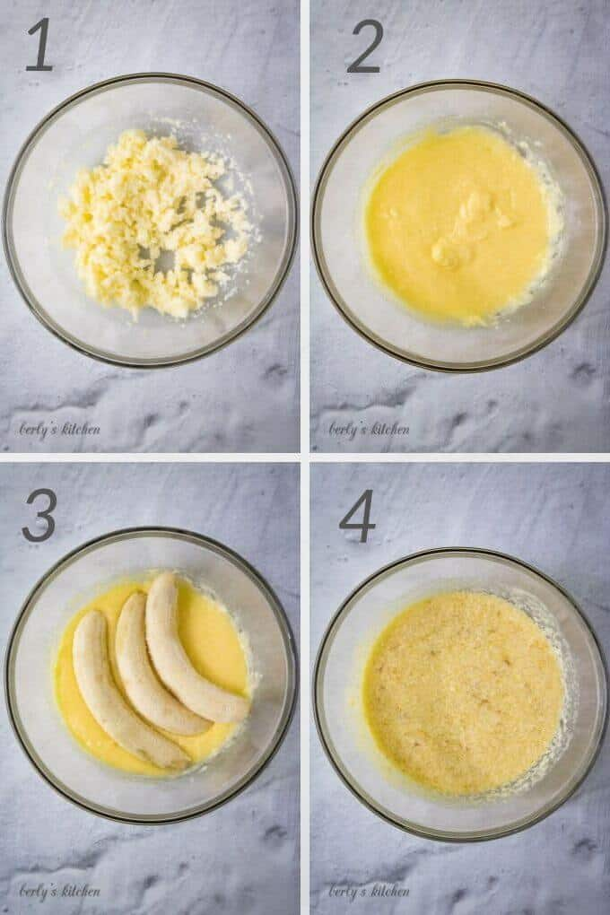 Collage of photos showing step-by-step mixing of ingredients for banana bread