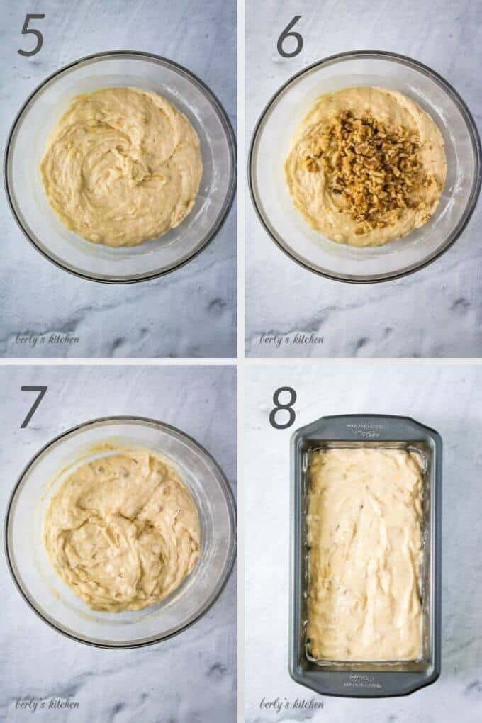 Collage of four photos showing 3 bowls and one bread pan of step-by-step photos of how to make banana bread.