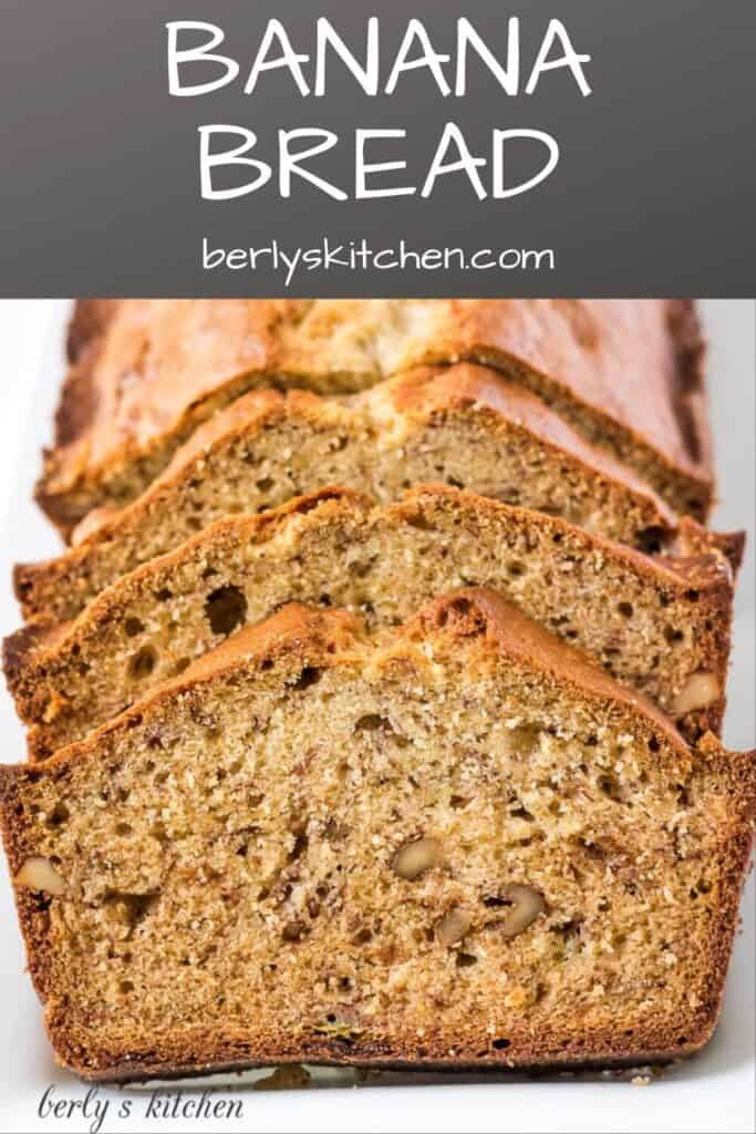 Photo of banana bread used for Pinterest.