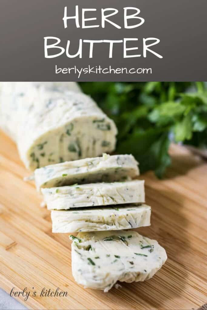 The garlic herb butter on a cutting board with parsley.