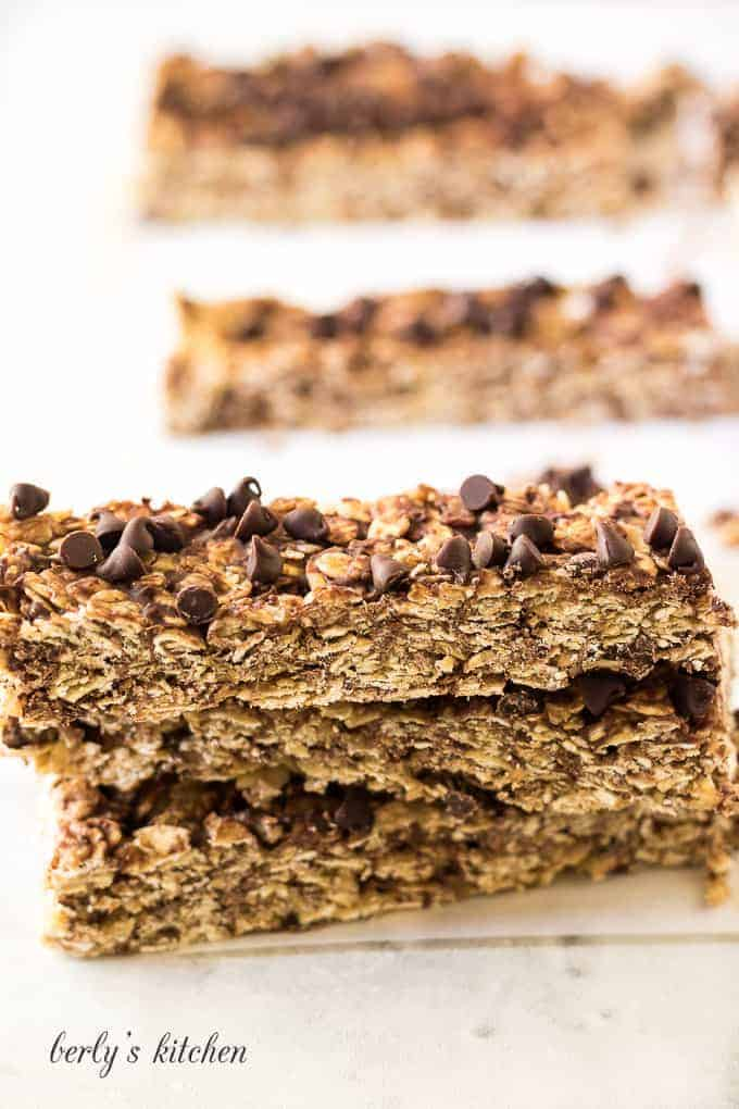 A close-up of the finished chocolate chip granola bars.