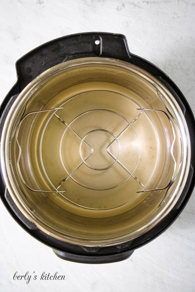 Chicken broth and apple cider vinegar added to the liner.