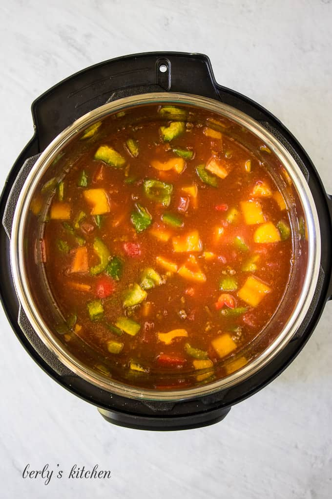 The soup has cooked and is ready to be served.