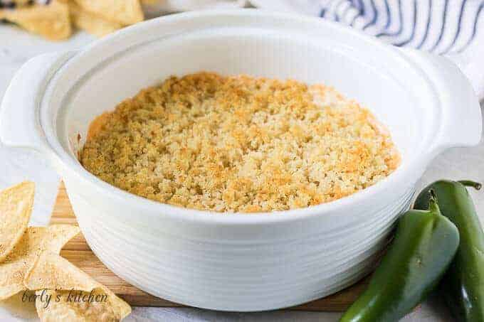 A large casserole dish filled with the jalapeno popper dip.
