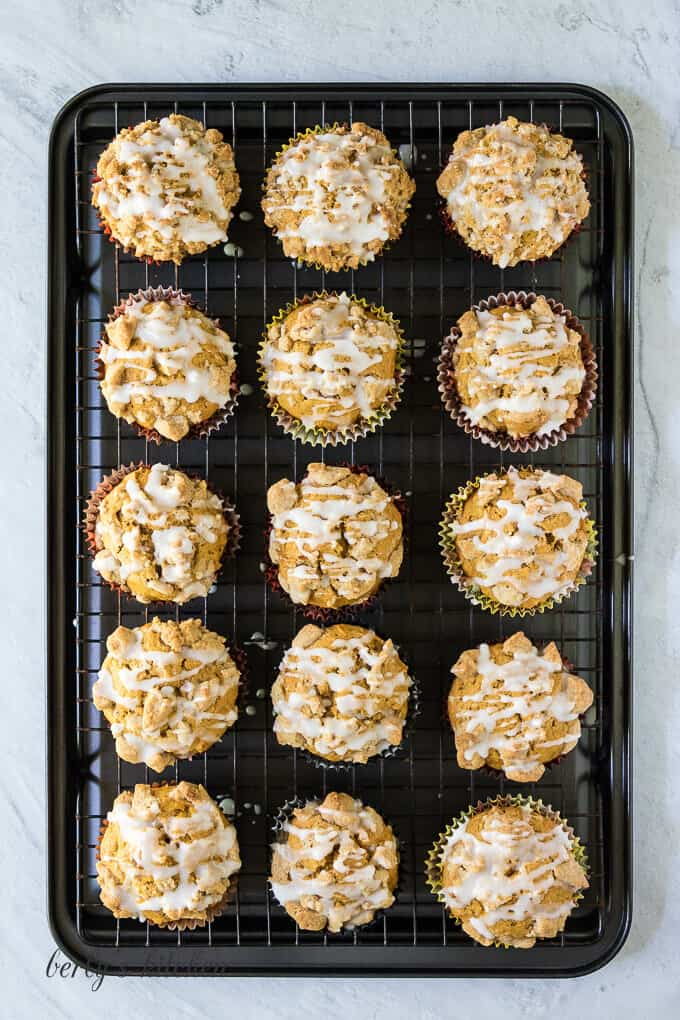 The drizzle has been added to all the pumpkin muffins.