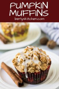 A pumpkin spice muffin topped with cinnamon streusel and glaze.