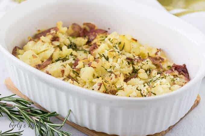 The finished side dish in a large white casserole dish.
