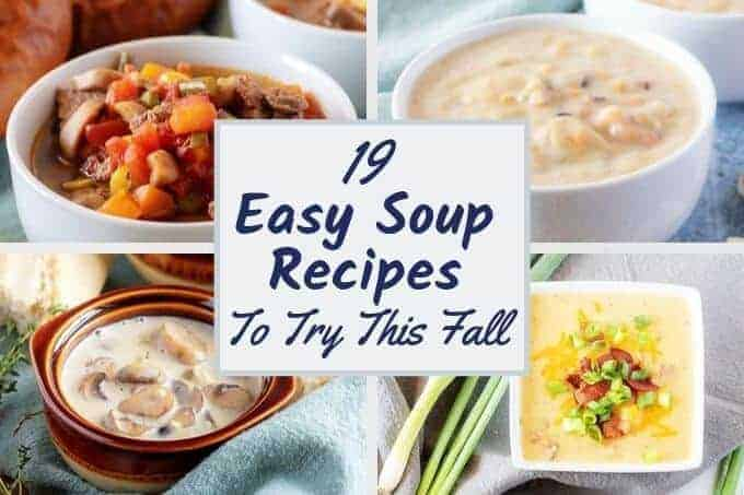 Collage showing 4 photos of soup with text overly stating