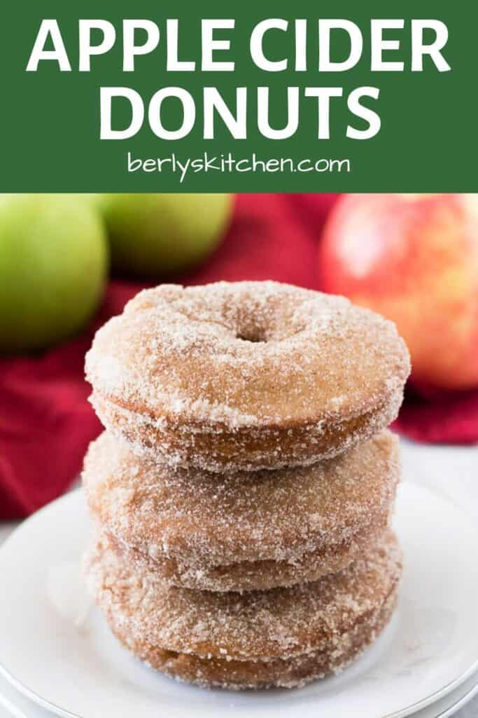 Three apple cider donuts stacked on a small white plate.