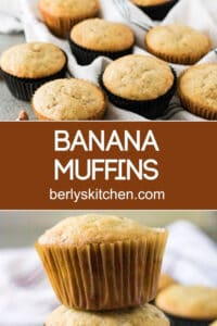 Two pictures of banana muffins separated by the recipe title.