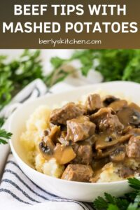 The beef tips with mushroom gravy served over mashed potatoes.