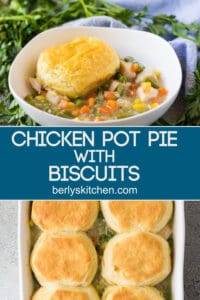 Two pictures of the chicken pot pie separated by text.