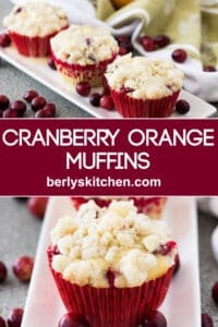 Cranberry orange muffins topped with a crumble and sweet glaze.