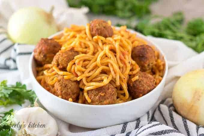 The finished Instant Pot spaghetti with meatballs in a bowl.