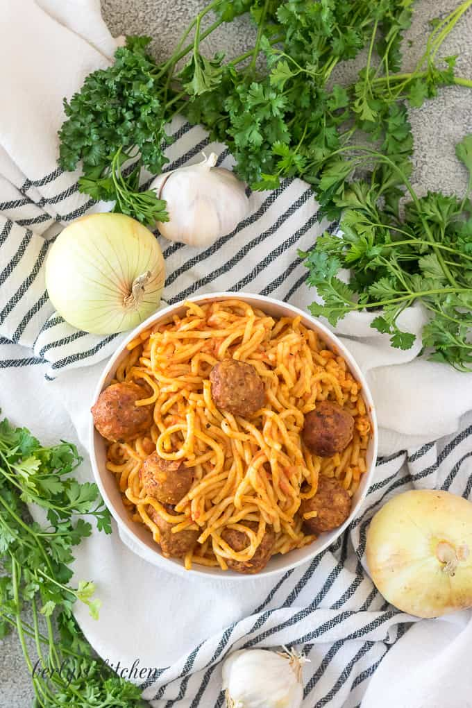 An aerial view of the pressure cooker spaghetti and meatballs.