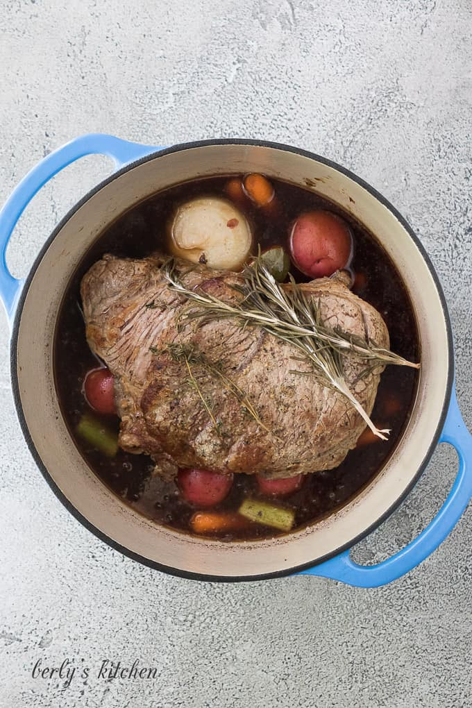 The pot roast has finished cooking and can now rest.