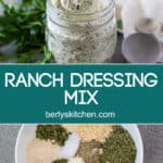 Two photos of the ranch dressing mix separated by text.