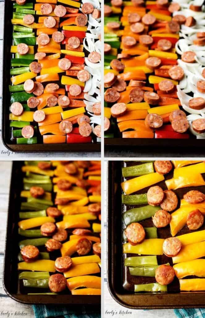 Collage of 4 pictures of sausage and peppers on sheet pans.