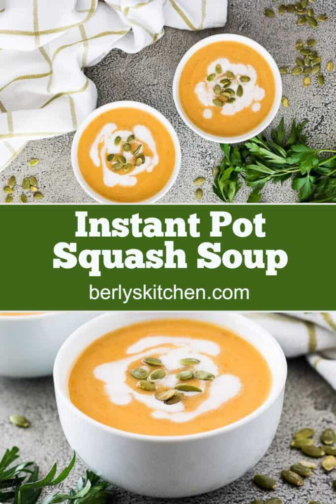 Three bowls of acorn squash soup topped with toasted seeds.