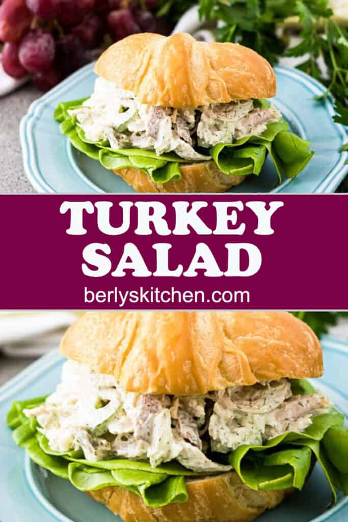 Two photos of turkey salad sandwiches served on flaky croissants.