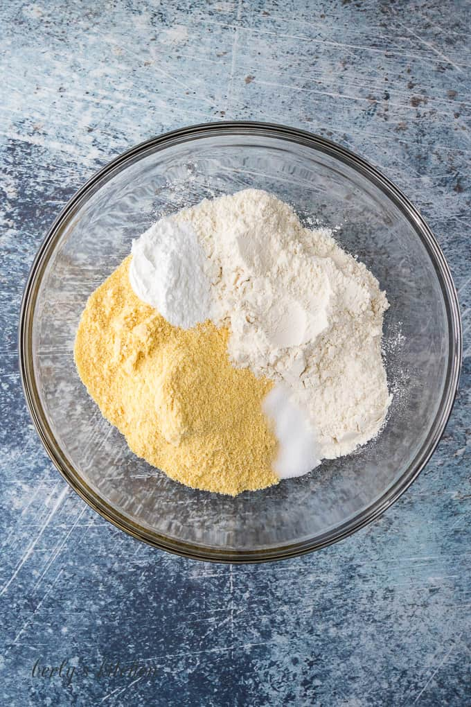 Flour and other dry ingredients in a large mixing bowl.