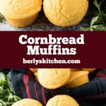 Two bundles of homemade cornbread muffins sitting on decorative towels.