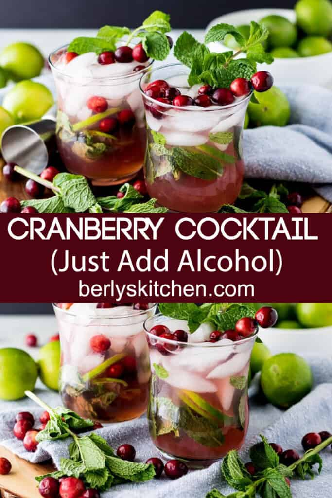 Four mock cranberry cocktails garnished with fresh mint and cranberries.