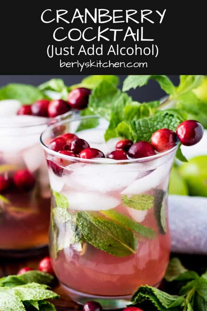 The mock cranberry cocktail served with fresh cranberries and mint.