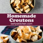 The toasted homemade croutons served in a small green bowl.