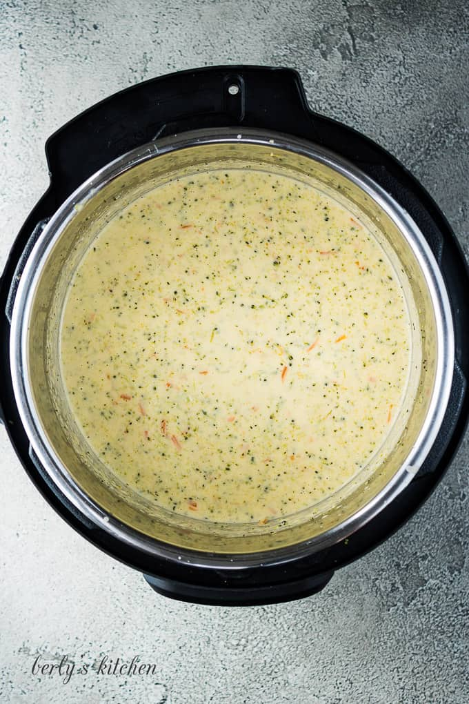 Aerial view of the broccoli cheese soup in the Instant Pot.