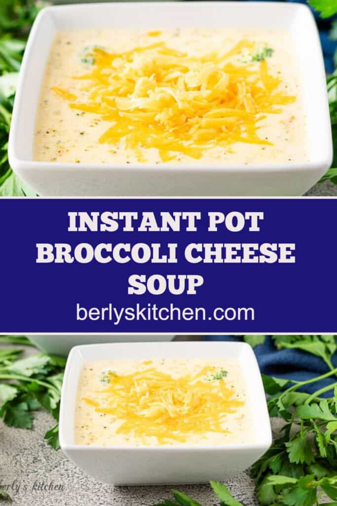 Two square bowls of Instant Pot broccoli cheese soup topped with cheddar.