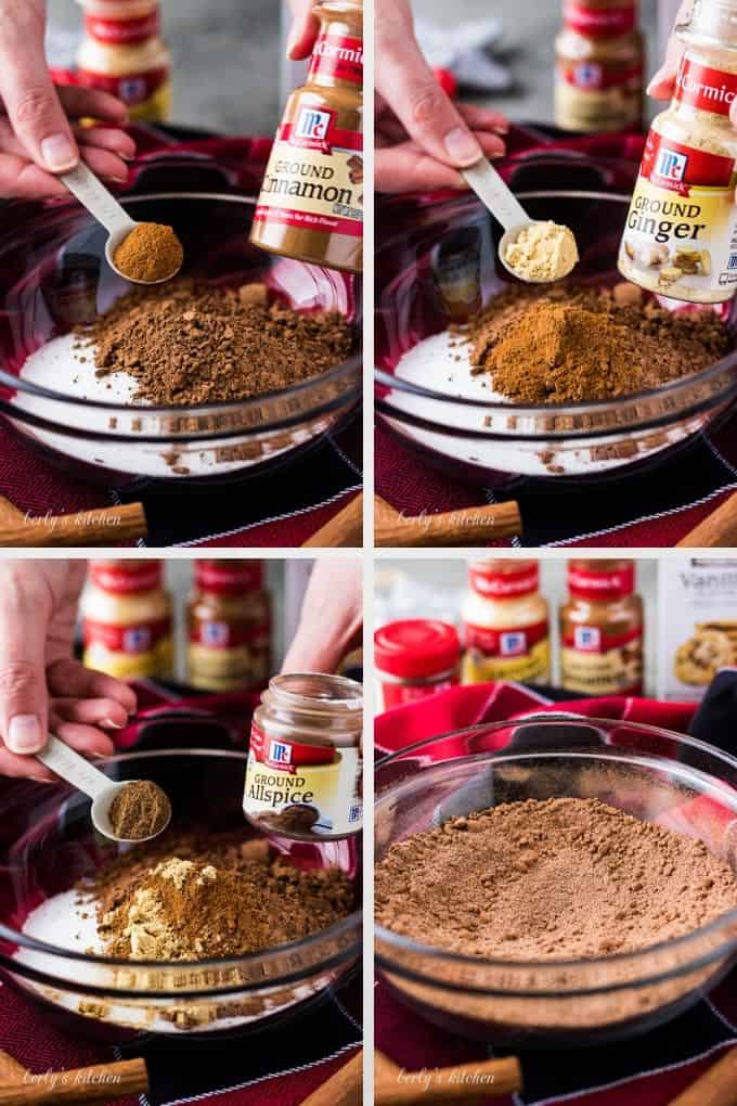 A photo collage of the cocoa ingredients going into a mixing bowl.