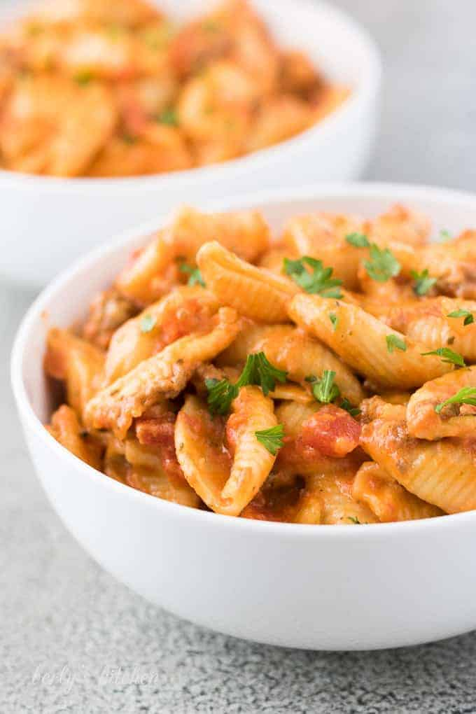 A close-up photo of the finished pasta topped with parsley.