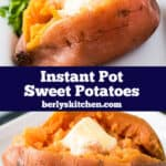 Two Instant Pot sweet potatoes split and topped with butter.