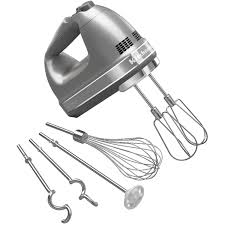 Silver KitchenAid Hand Mixer with Attachments.