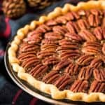 The pecan pie has baked and is ready to serve.