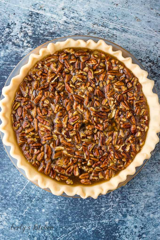 The filling has been poured into an unbaked pie crust.