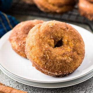 Two cinnamon and sugar topped pumpkin donuts on a plate.