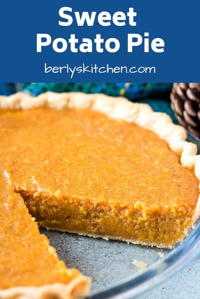 A small slice of pie has been removed from the sweet potato pie.