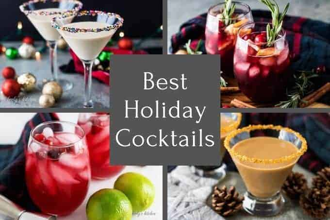 A collage of four pictures containing our best holiday cocktails.